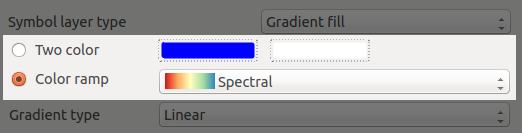 Colour options in gradient fills