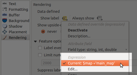 Tweaking label settings using the $map variable