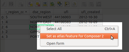 Setting the atlas feature from the browser window