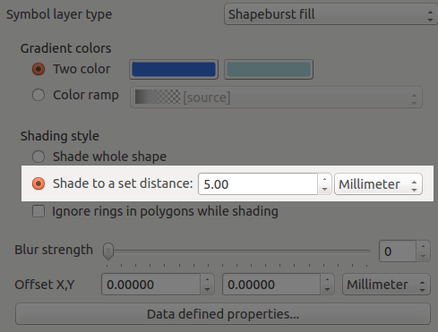 Shapeburst fills can shade to a set distance only