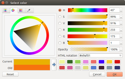 Colour wheel widget