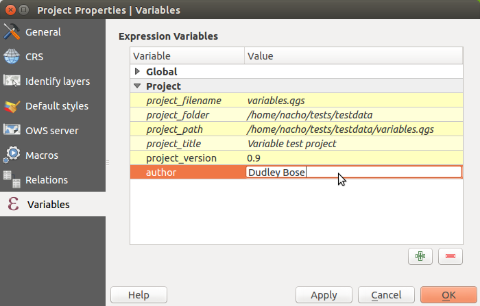 Adding new variables to a project