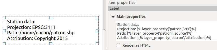 Inserting dynamic layer properties into a composer label