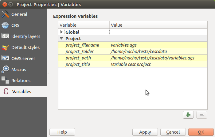 Default project variables